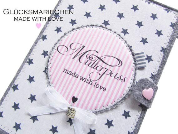 """Mutterpasshülle """"STAR"""" grau/rosa"""