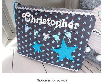 "Wickeltasche / Kulturbeutel ""STAR gross"" grau/türkis"