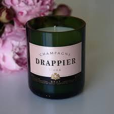 "Champagner Duftkerze ""Drappier green glas"""
