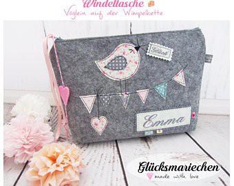"Wickeltasche / Kulturbeutel ""VOGEL"" grau/rosa"