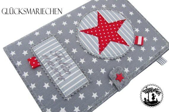 "2 in 1 U-Heft Hülle ""STAR"" - grau/rot"