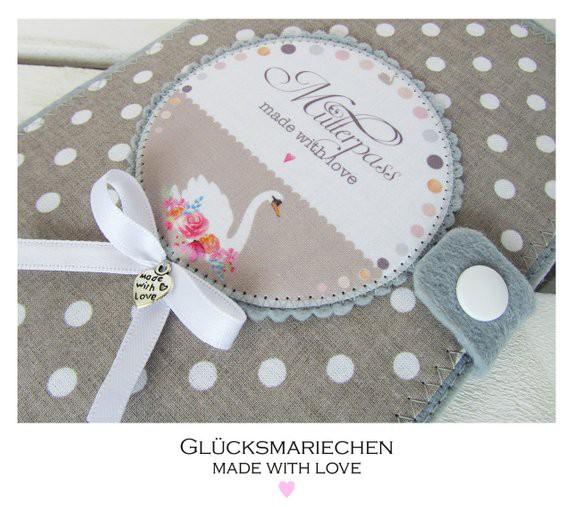 "Mutterpasshülle ""SCHWAN"" - grau/beige/rosa"