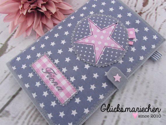 "2 in 1 U-Heft Hülle ""STAR"" - grau/rosa"