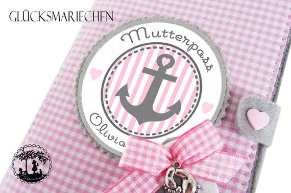 """Mutterpasshülle """"Ahoi"""" grau/rosa - Anker"""