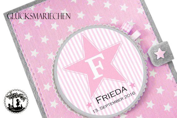 U-Heft Hülle STAR Initialen - grau / rosa