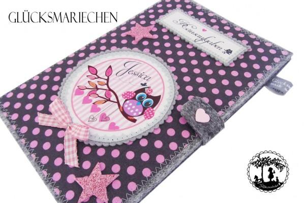 "Hausaufgabenheft ""EULE"" grau /rosa Einband"