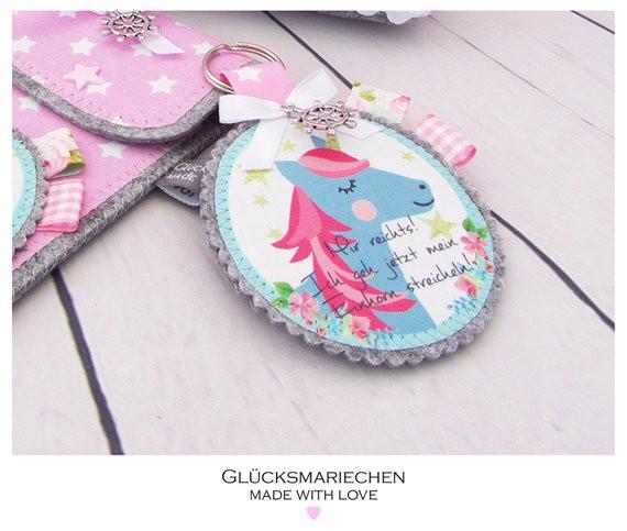 "Schlüsselanhänger ""EINHORN"" - grau/rosa"