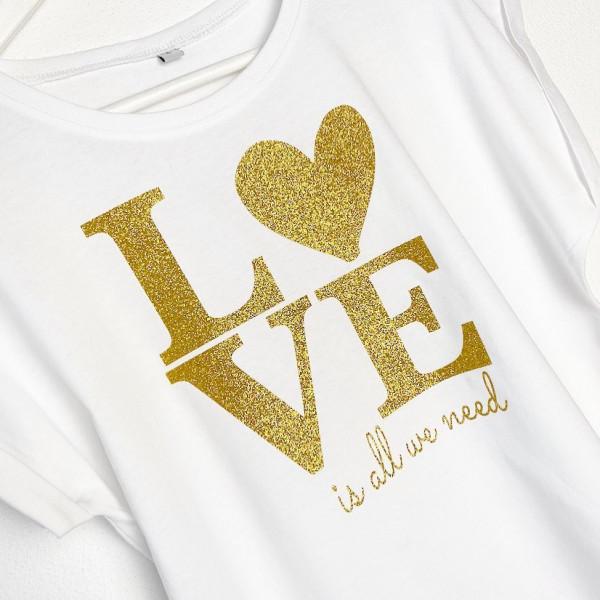 Statement Shirt LOVE gold Glitzer