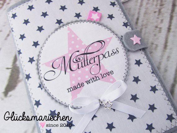 """STAR"""" Mutterpasshülle grau/rosa"""