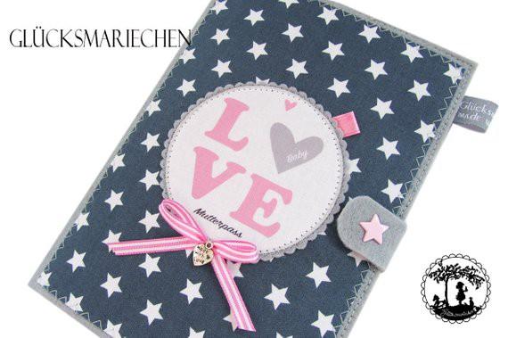 """LOVE"""" Mutterpasshülle - grau/rosa"""
